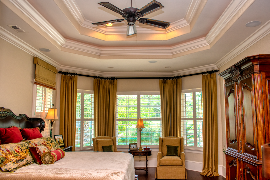 beautiful tiered ceiling with custom trim