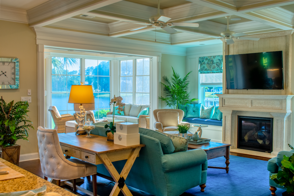 great room of dream home with coffered ceiling
