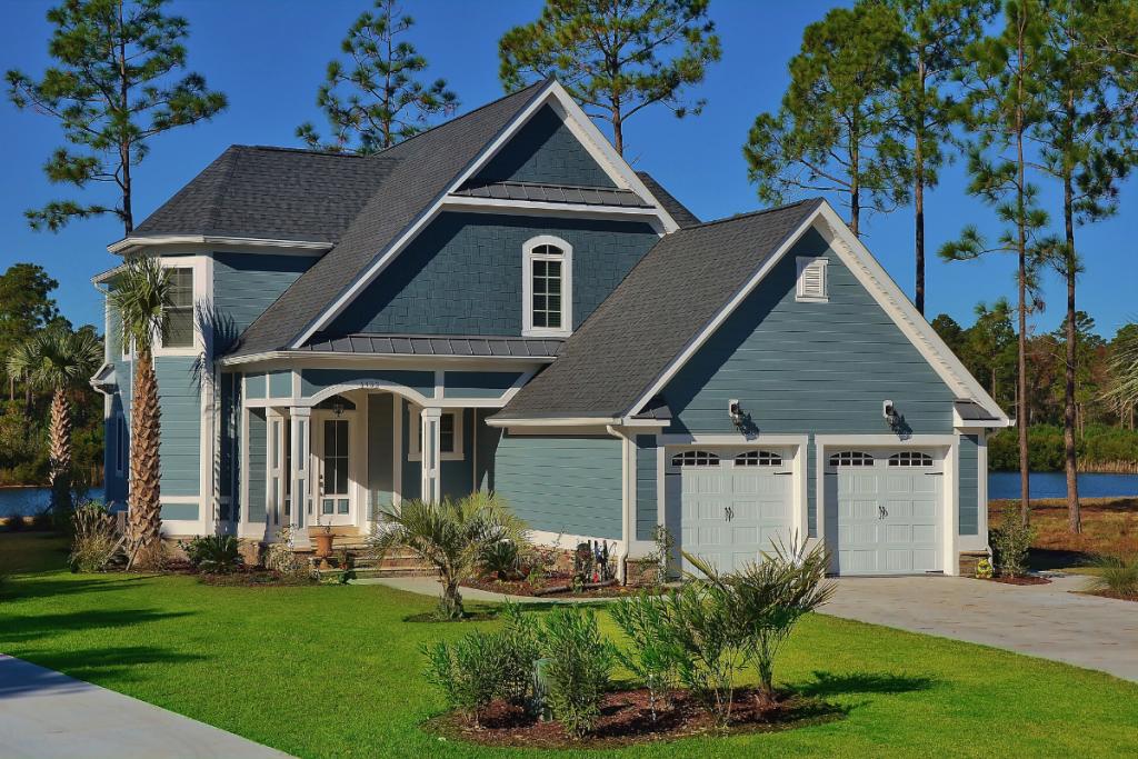 A custom home with lap siding